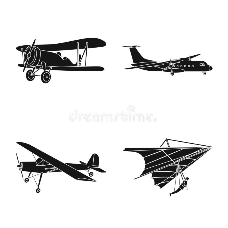 Vectorillustratie van vliegtuig en vervoerteken Inzameling van vliegtuig en hemelvoorraadsymbool voor Web stock illustratie