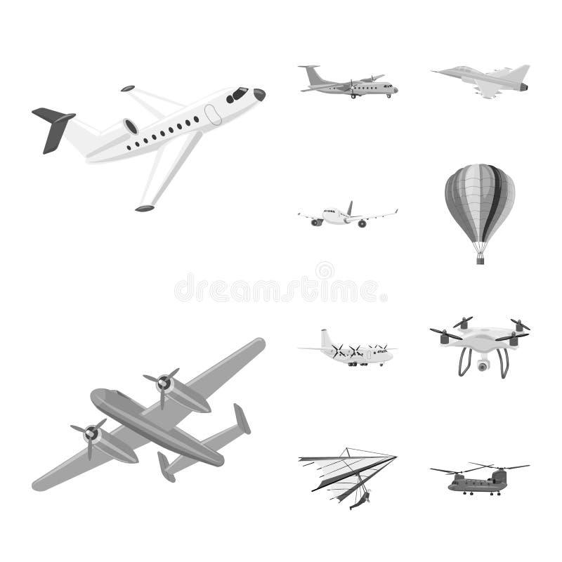 Vectorillustratie van vliegtuig en vervoerteken Reeks van vliegtuig en hemelvoorraadsymbool voor Web stock illustratie