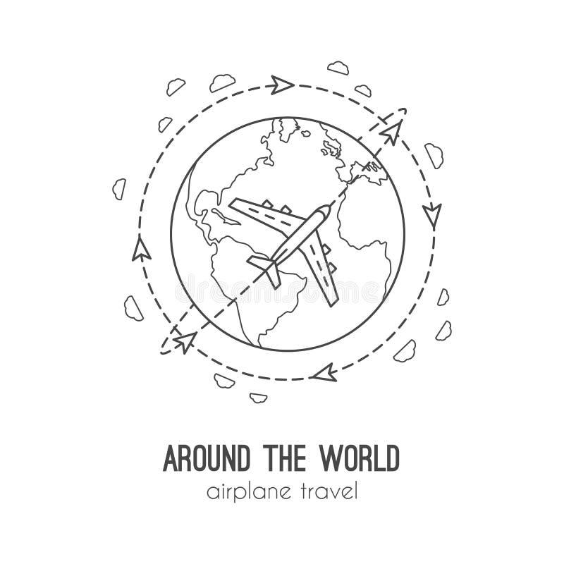 Vectorillustratie van vliegtuigreis royalty-vrije illustratie
