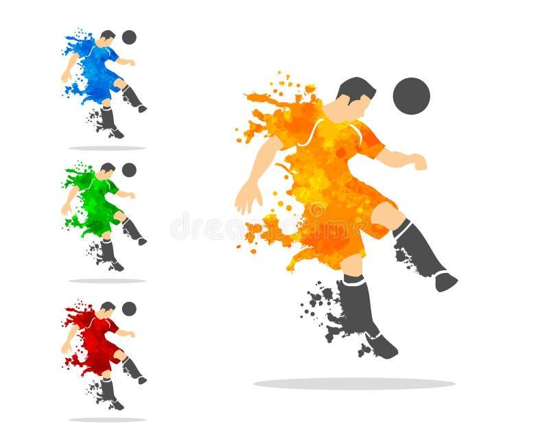 vectorillustratie van voetbal of voetbalster in een actiewi vector illustratie