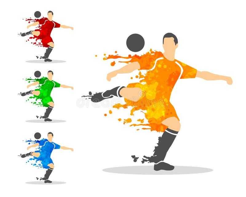 vectorillustratie van voetbal of voetbalster in een actiewi royalty-vrije illustratie