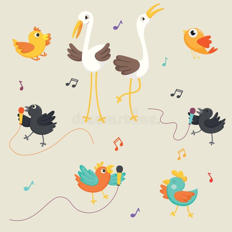 Vectorillustratie van Vogels het Zingen royalty-vrije illustratie