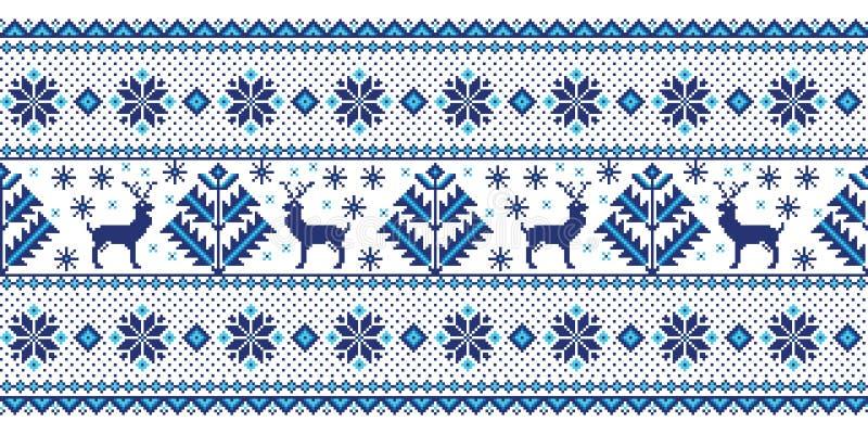 Vectorillustratie van Volks naadloos patroonornament Etnisch Nieuwjaar blauw ornament met pijnboombomen en deers royalty-vrije illustratie