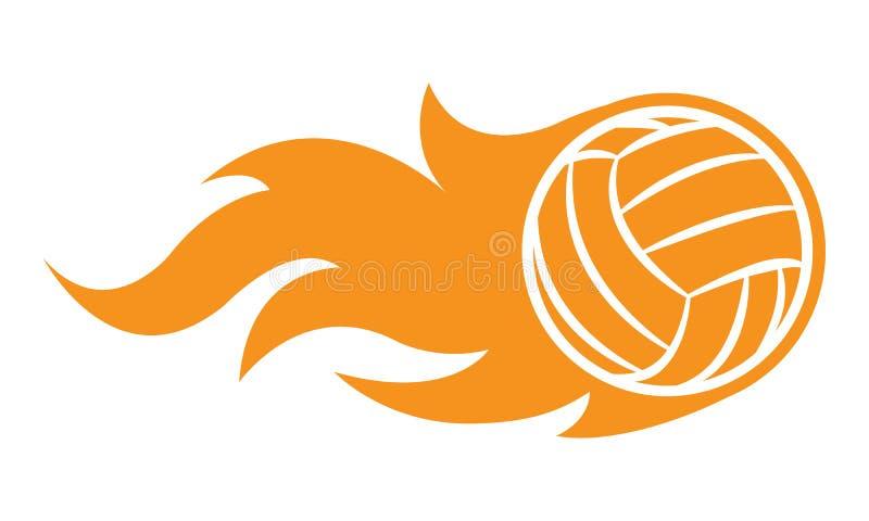 Vectorillustratie van volleyballbal met klassieke eenvoudige vlam stock illustratie