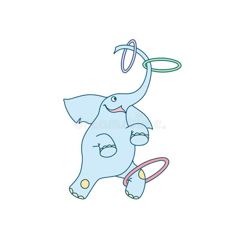 Vectorillustratie van vrolijke juggler van de beeldverhaalolifant met hoepels stock illustratie