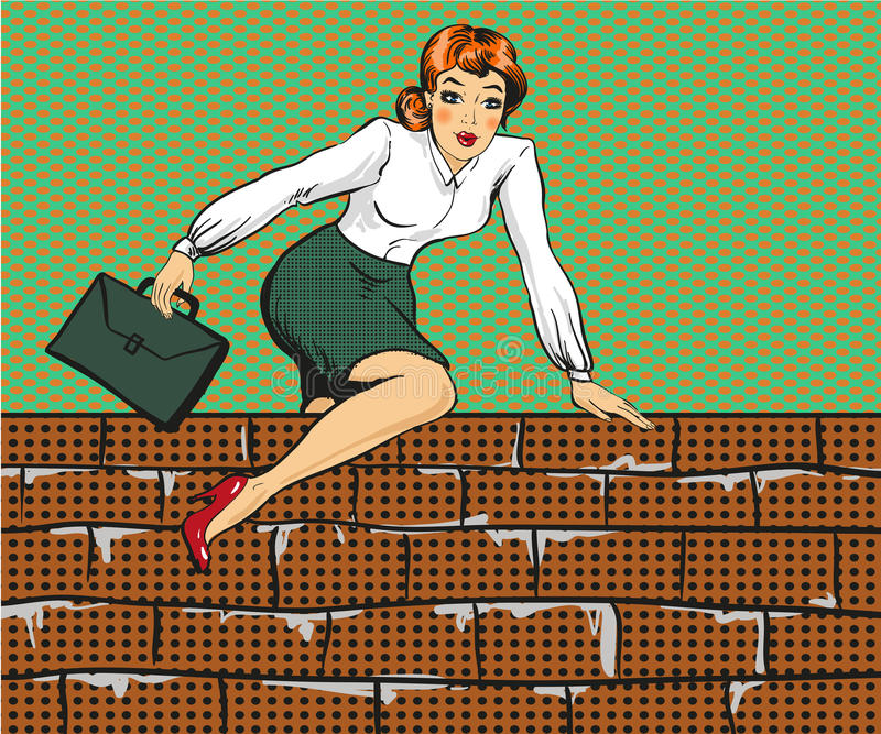 Vectorillustratie van vrouw het beklimmen over omheining, pop-artstijl stock illustratie