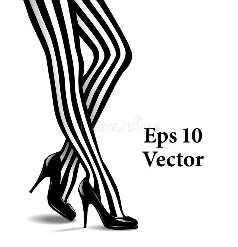 Vectorillustratie van Vrouwelijke Benen in Gestreepte Kousen vector illustratie