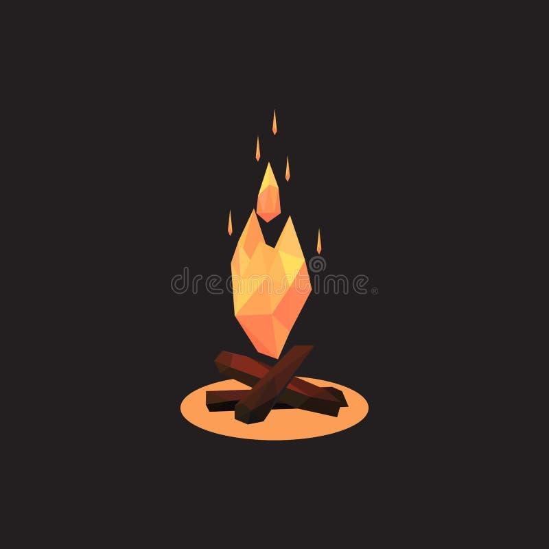 Vectorillustratie van vuur Veelhoekige stijl een vuur royalty-vrije stock afbeelding