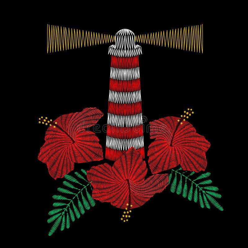 Vectorillustratie van vuurtorenborduurwerk met hibiscus flowe royalty-vrije illustratie