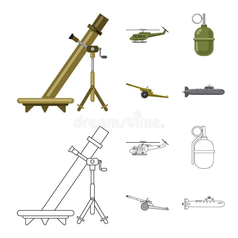 Vectorillustratie van wapen en kanonsymbool Inzameling van wapen en legervoorraadsymbool voor Web stock illustratie