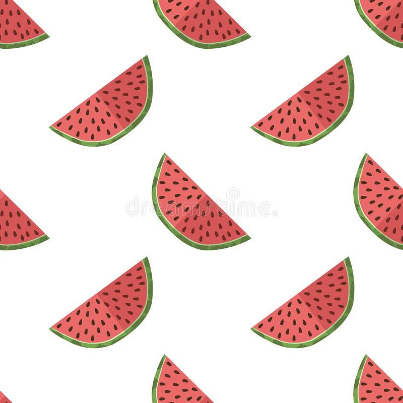 Vectorillustratie van watermeloenplakken op een lichte achtergrond Helder fruitig naadloos patroon met een sappig watermeloenbeel stock illustratie