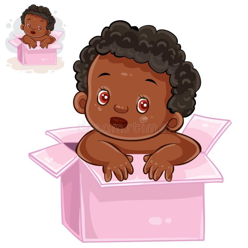 Vectorillustratie van weinig baby met zwarte huidzitting in doos stock illustratie