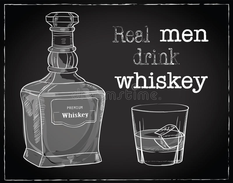 Vectorillustratie van whiskyfles en glas met ijsblokje royalty-vrije illustratie