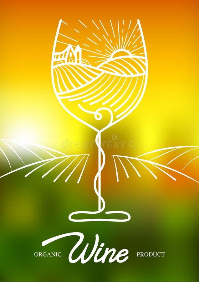 Vectorillustratie van wijnstokdruif en landelijk gebied in wijnglas Concept voor biologische producten, oogst, gezond voedsel, wi royalty-vrije illustratie
