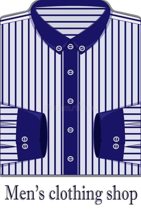 Vectorillustratie van wit mensen` s overhemd in een blauwe strook royalty-vrije illustratie