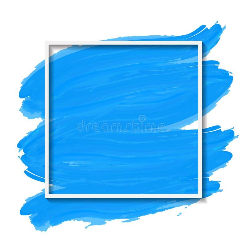 Vectorillustratie van witte bekendheid op blauwe geborstelde achtergrond stock illustratie