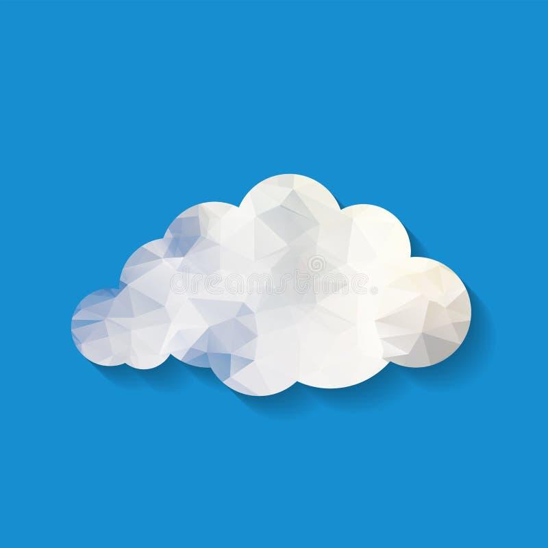 Vectorillustratie van witte driehoeksdocument wolk op blauwe backg vector illustratie
