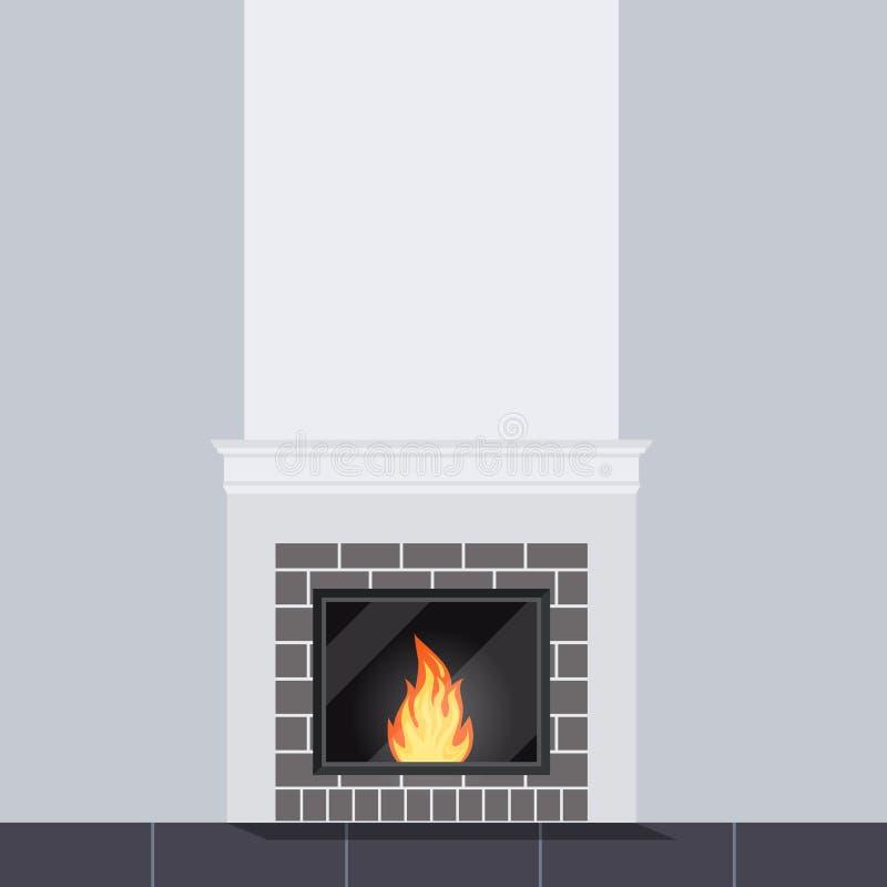 Vectorillustratie van woonkamerscène met witte dichte omhooggaand van de steenopen haard vector illustratie
