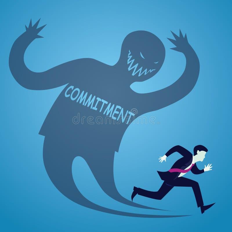 Vectorillustratie van zakenmanvluchteling bang van verplichting stock illustratie