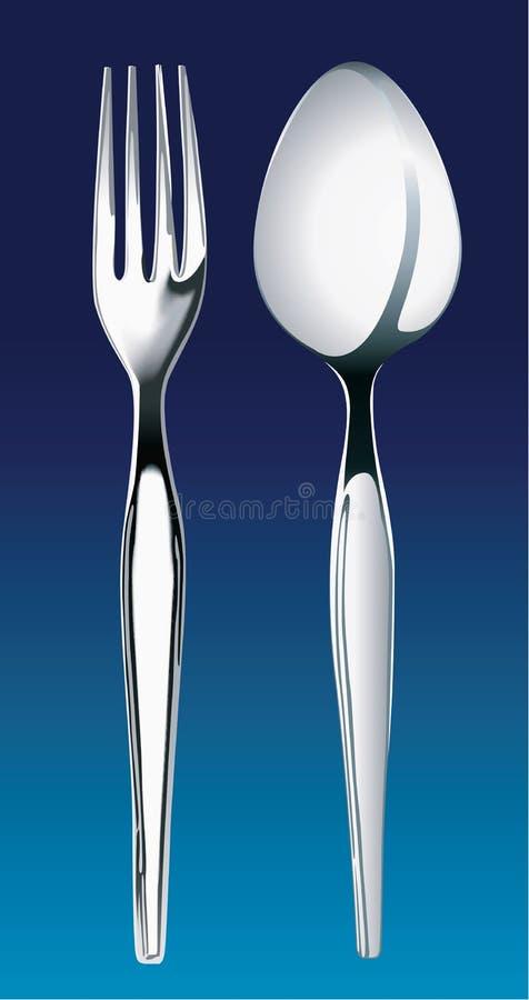 Vectorillustratie van zilveren vork en lepel vector illustratie
