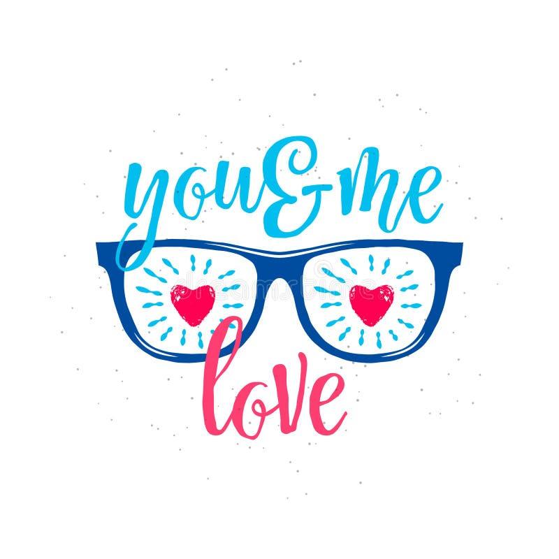 Vectorillustratie van zonnebril met harten in glazen, tekst u en me liefde royalty-vrije illustratie