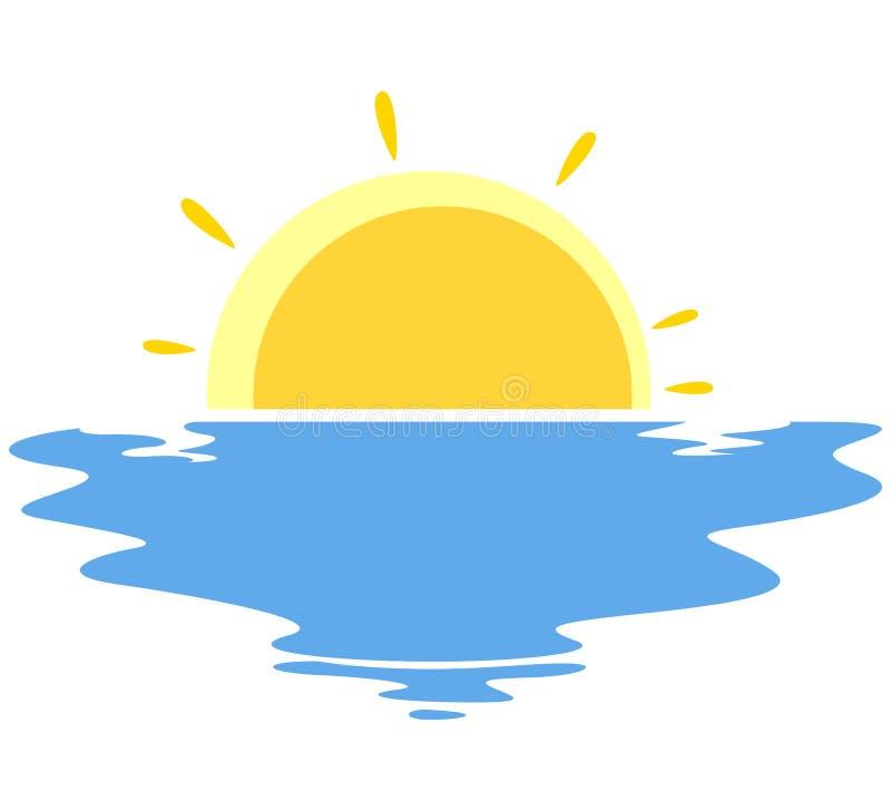 Vectorillustratie van Zonsondergang in het overzees stock illustratie