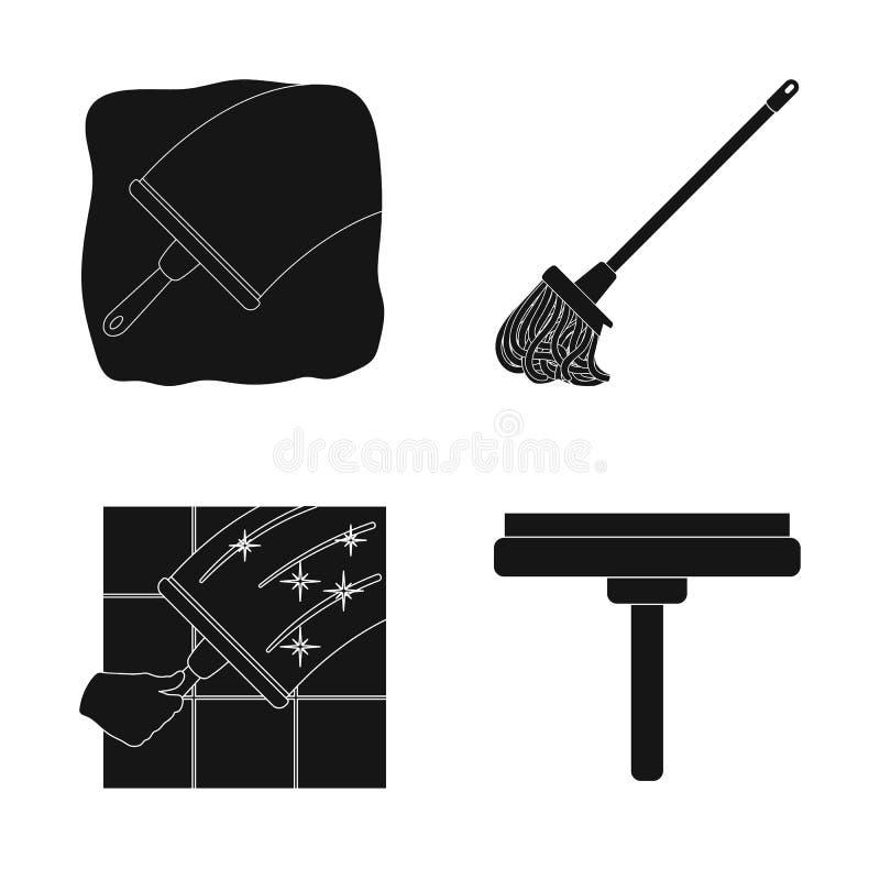 Vectorillustratie van zwabber en bezempictogram Inzameling van zwabber en schonere voorraad vectorillustratie royalty-vrije illustratie