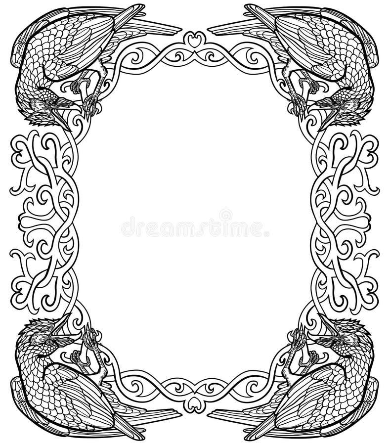 Vectorillustratie van Vectorillustratie van zwart-witte kader van de raven het gotische Keltische knoop stock illustratie