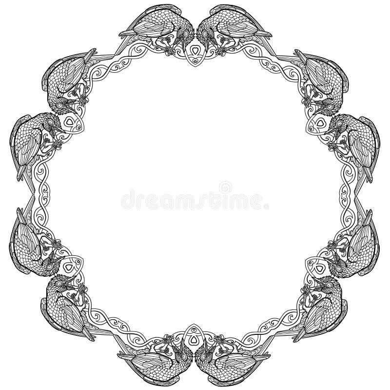 Vectorillustratie van zwart-witte kader van de twaalf raven het Keltische knoop stock illustratie