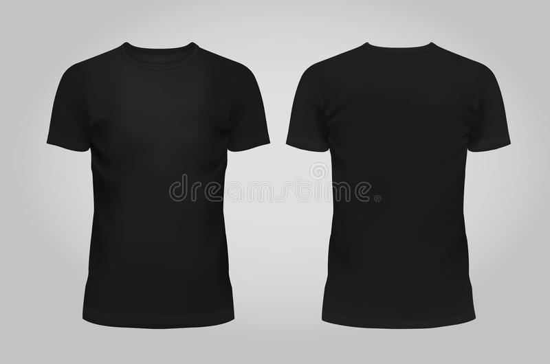 Vectorillustratie van zwarte de mensent-shirt van het ontwerpmalplaatje, voorzijde en terug op een lichte achtergrond bevat vector illustratie