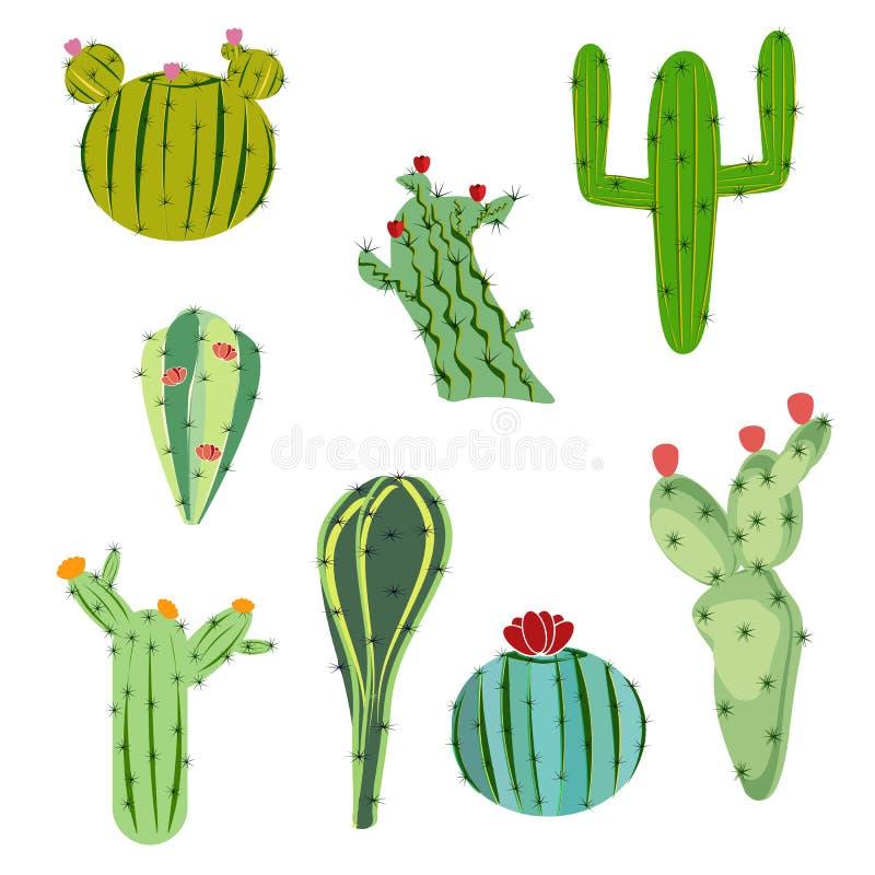 Vectorillustratie vastgestelde cactus met bloemen in vlakke stijl stock illustratie