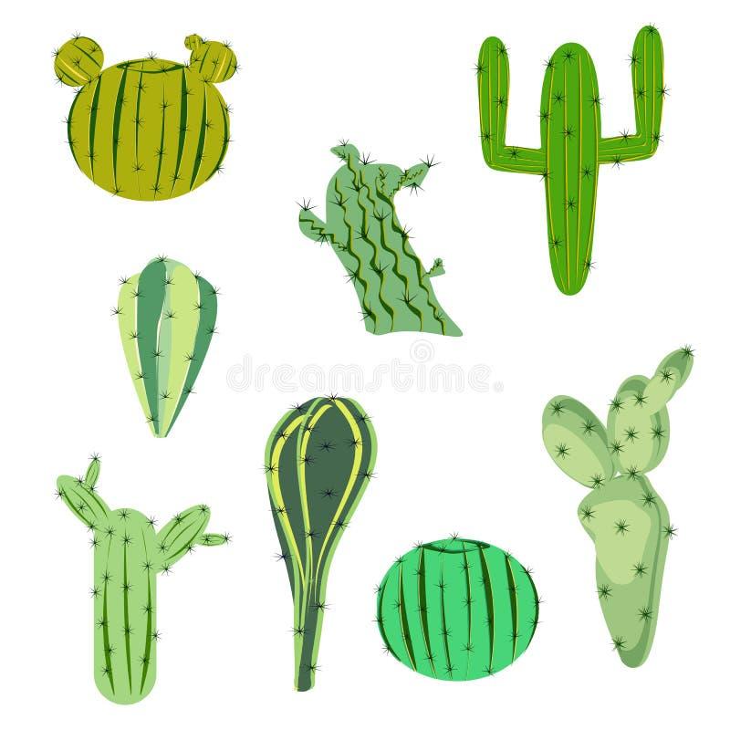 Vectorillustratie vastgestelde cactus in vlakke stijl stock illustratie