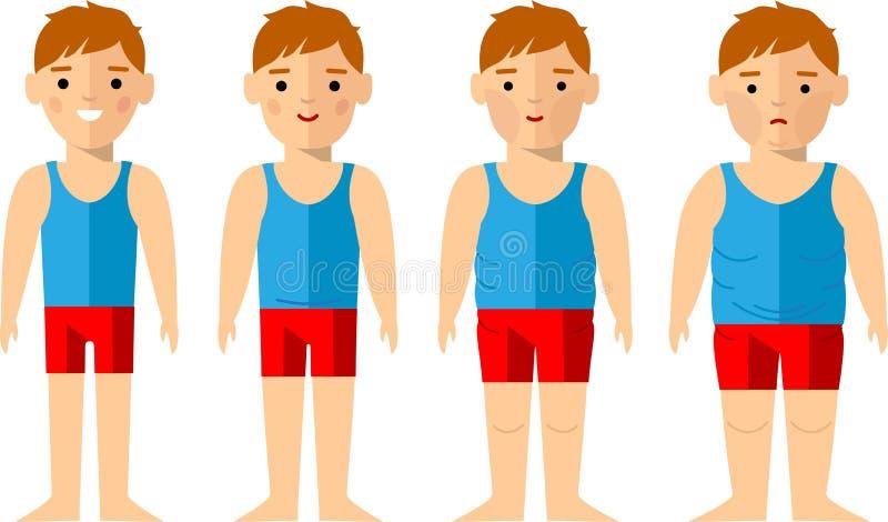 Vectorillustratie vette en slanke mens Het concept van het dieet royalty-vrije illustratie