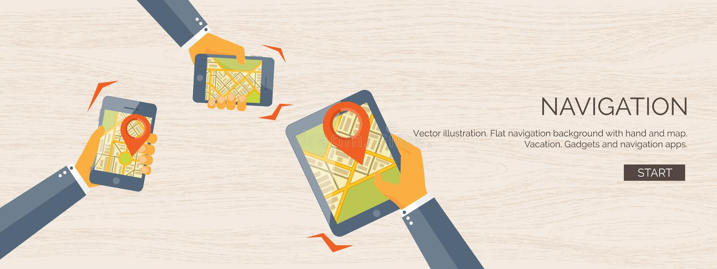 Vectorillustratie vlakke achtergrond Navigatie, het reizen De plaats van de kaartwijzer het vinden Reis en vakantieconcept vector illustratie
