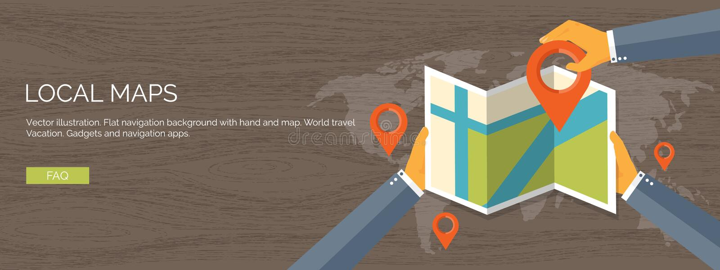 Vectorillustratie vlakke achtergrond Navigatie, het reizen De plaats van de kaartwijzer het vinden Reis en vakantieconcept royalty-vrije illustratie