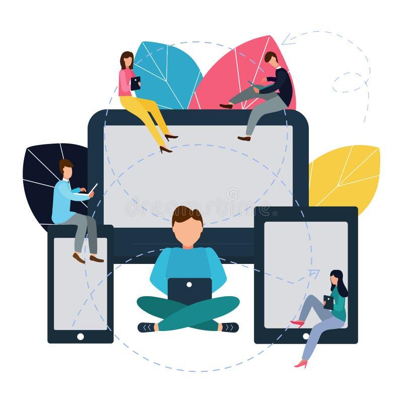 Vectorillustratie in vlakke stijl Communicerend via Internet, sociale netwerken, praatje, nieuws, video's, berichten, website, on vector illustratie