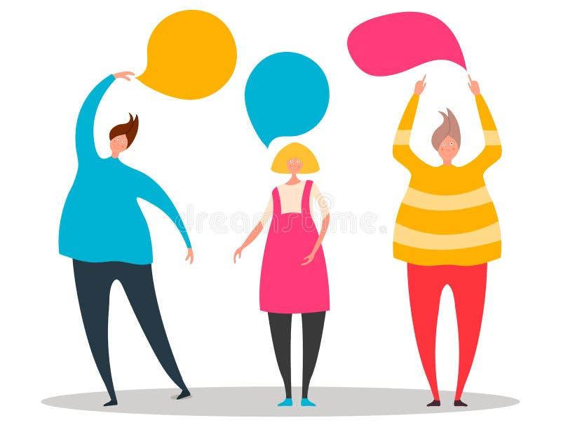 Vectorillustratie, vlakke stijl, leuk mensenpunt aan toespraakbellen Creatief ontwerp met man en vrouwensilhouetten Vector stock illustratie
