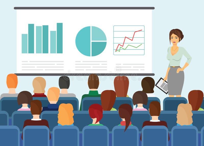 Vectorillustratie in vlakke stijl van mensen die en op presentatie op het scherm zitten letten royalty-vrije illustratie