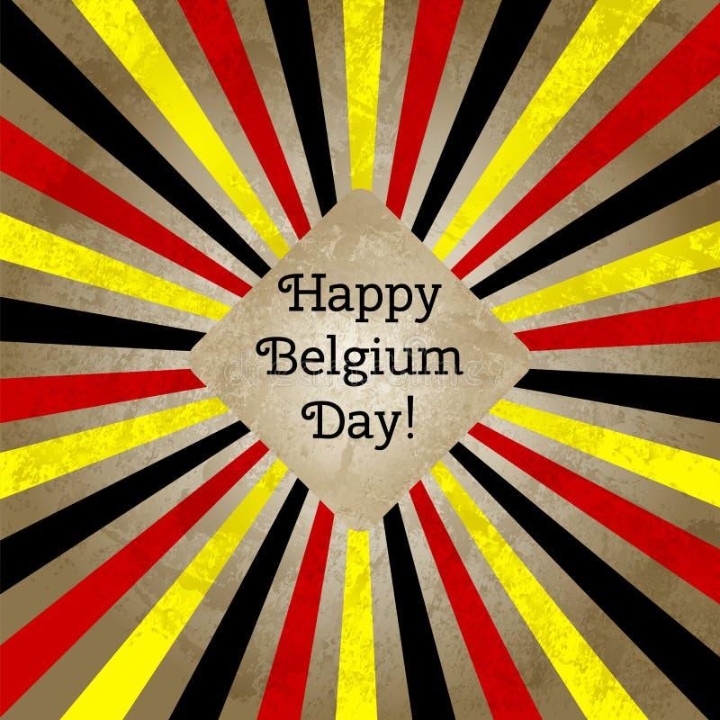 Vectorillustratie voor Dag van België, retro kaart van de stijlgroet, Web Ontwerpmalplaatje voor affiche, banner, flayer stock illustratie