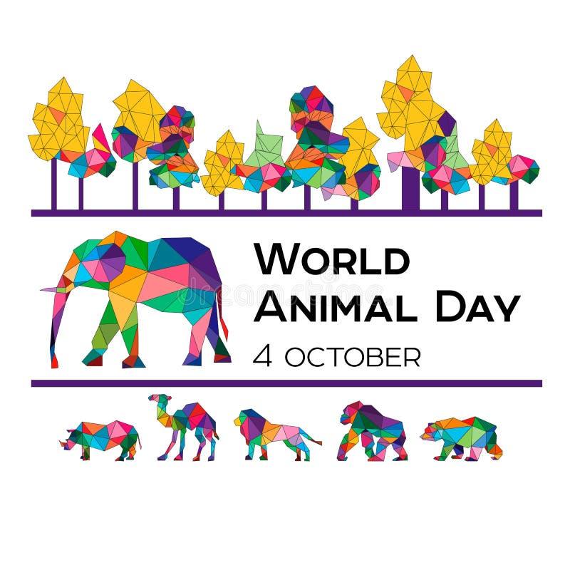 Vectorillustratie voor de Wereld Dierlijke Dag op 4 Oktober Veelhoekige dieren royalty-vrije illustratie