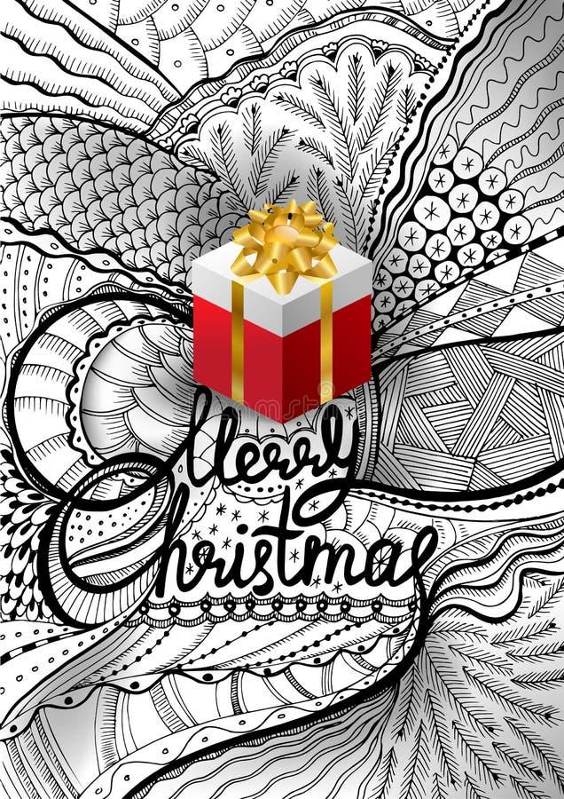 Vectorillustratie voor Kerstmis in Zentangle-stijl Het van letters voorzien Vrolijke Kerstmis De krabbelschets van de handtekenin royalty-vrije illustratie