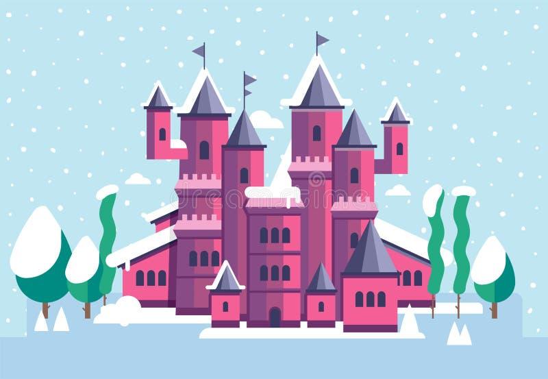 Vectorillustratie voor kinderen met fee roze kasteel en de winterlandschap stock illustratie