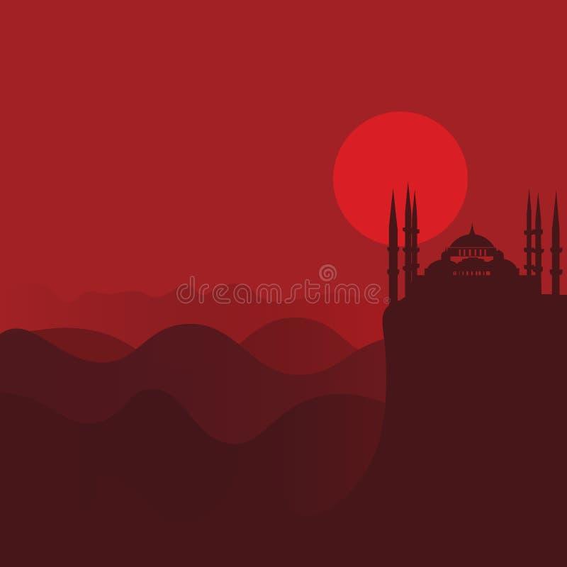 Vectorillustratie voor moslimgemeenschap: landschap van de woestijn het rode zonsondergang met moskeesilhouet vector illustratie