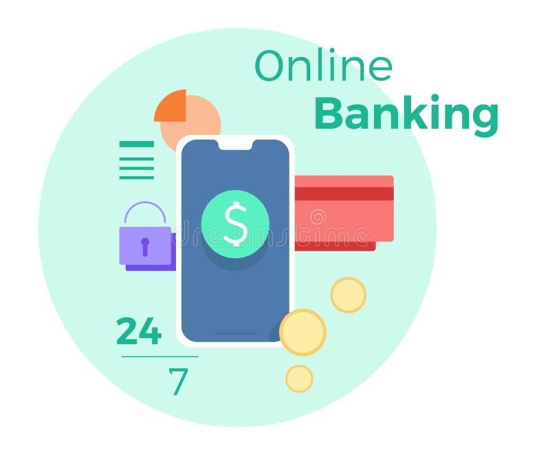 Vectorillustratie voor online bankwezen Concept voor mobiele bank en Internet-betaling Vlakke banner, eps 10 vector illustratie