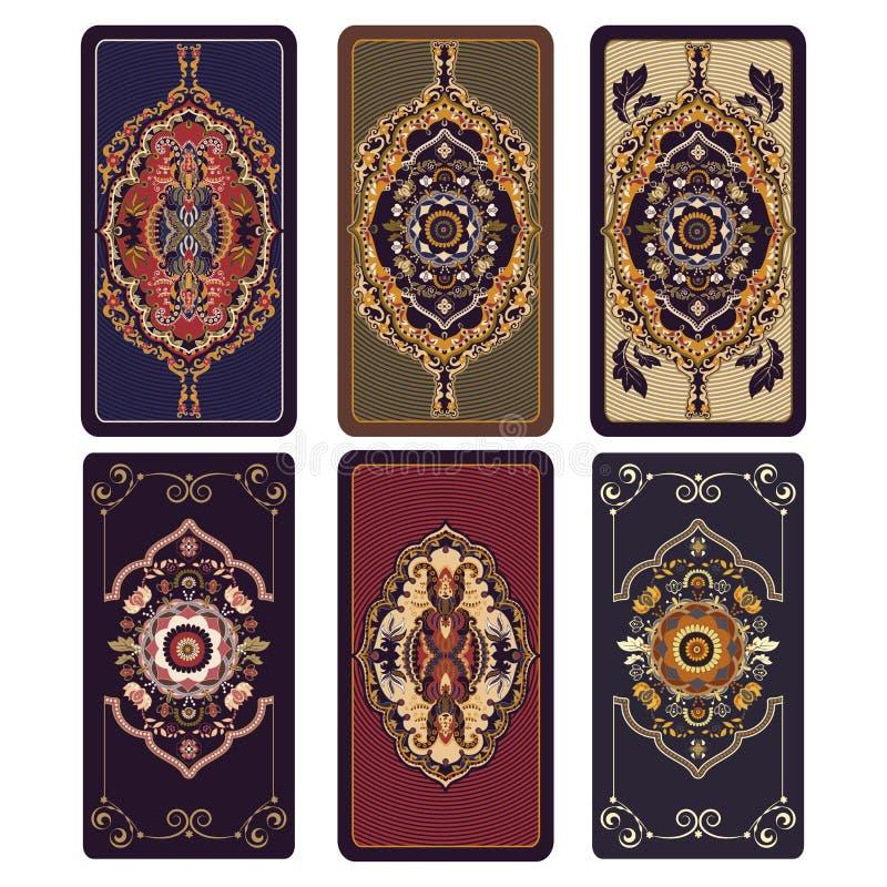 Vectorillustratie voor Tarot en speelkaarten Malplaatje voor uitnodigingen, affiches Kleurrijke Tarotkaarten vector illustratie