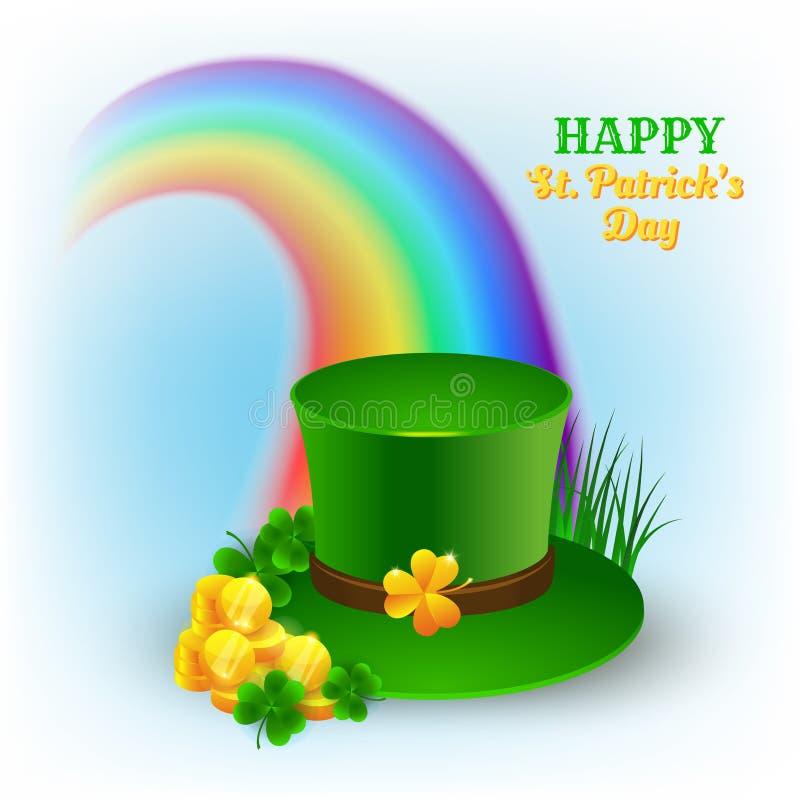 Vectorillustratie voor vieringsst Patrick ` s Dag met groene hoed royalty-vrije illustratie