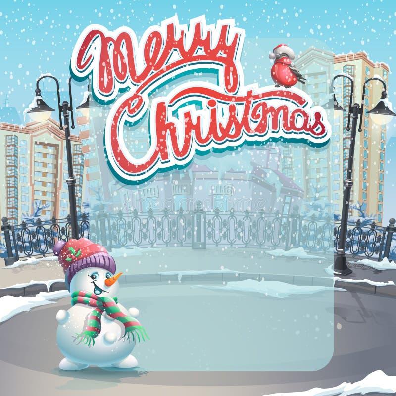 Vectorillustratie Vrolijke Kerstmis met een sneeuwman royalty-vrije illustratie