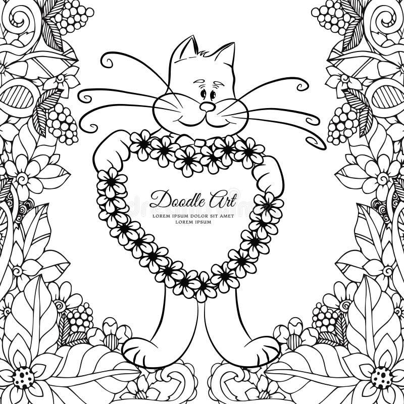Vectorillustratie Zen Tangle die, pot een hart in de bloemen houden Vectoreps 10 vector illustratie