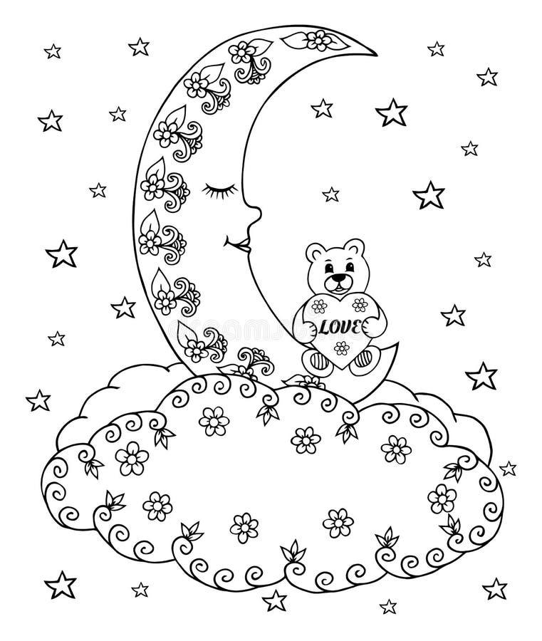 Vectorillustratie zentangl een teddybeer met een hart op de maan onder de wolken en de sterren Vectoreps 10 Kleurend boek anti stock illustratie