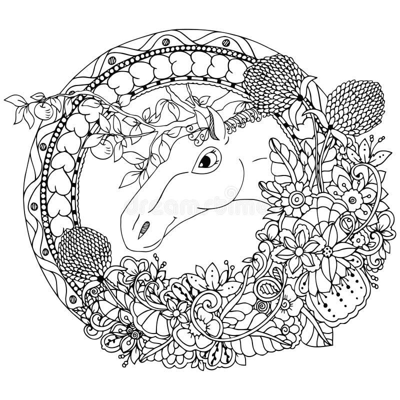 Vectorillustratie zentangl het paard in een rond bloemenkader Krabbel bloementekening Meditatieve oefeningen kleuring vector illustratie